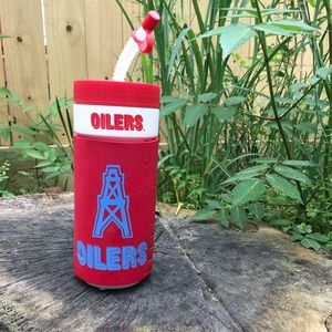 Vintage Houston Oilers Coozie Thermo With Straw